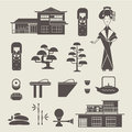 Japan icons vector set of various stylized japanese Royalty Free Stock Images