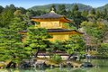 Japan kyoto golden pavillion shariden at famous kinkakuji kinkaku ji temple buddhist zen temple of rinzai school Royalty Free Stock Photography