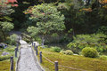 Japan kyoto tenju an temple garden with footpath and bridge Stock Photo