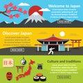 Japan landscape banner horizontal set, flat style