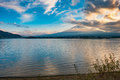 Japan landscape with mount fuji and lake kawaguchi kawaguchiko mountian is the famous volcano part of Royalty Free Stock Photography