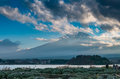 Japan landscape with mount fuji and lake kawaguchi kawaguchiko mountian is the famous volcano part of Stock Images