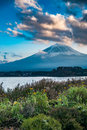 Japan landscape with mount fuji and lake kawaguchi kawaguchiko mountian is the famous volcano part of Royalty Free Stock Photo