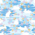 Japan line flower rabbit watercolor stripe cloud seamless pattern