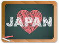 Japan Love on Blackboard. Earthquake and Tsunami Stock Image