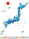 Japan - map and flag - illustration