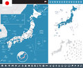 Japan - map and flag - infographic illustration