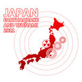 Japan map with seismig epicenter isolated Royalty Free Stock Image