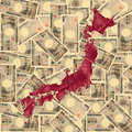Japan map with Yen Stock Photos