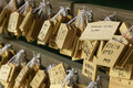 Japan nara kasuga shrine small wooden plaques with prayers and wishes ema Royalty Free Stock Photography