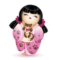 Japan National kokeshi doll in in a pink kimono with a pattern of brown cat paws. In her hands she holds a small kitten. Vector il Royalty Free Stock Photo