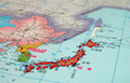 Japan-Nihon-map detail Stock Photo