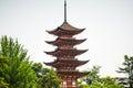 Japan pagoda closeup over white sky Royalty Free Stock Photo