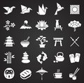 Japan related icons set on black background for graphic and web design. Simple vector sign. Internet concept symbol for Royalty Free Stock Photo