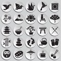 Japan related icons set on plates background for graphic and web design. Simple vector sign. Internet concept symbol for Royalty Free Stock Photo