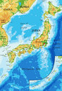 Japan relief map Royalty Free Stock Photo