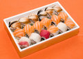 Japan restaurant set of rolls and sushi Stock Images