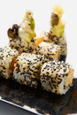 Japan rolls on plate close up food style with Stock Images