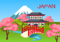 Japan Touristic Concept with National Symbols