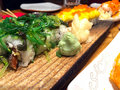 Japan Traditional Food Sushi on Restourant Table Royalty Free Stock Photo
