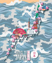 Japan travel poster with map and sea - travel to Japan. Royalty Free Stock Photo