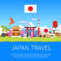 Japan Travel skyline Flat Composition Advertisement Poster