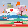 Japan Travelling Banner. Japanese Landmarks Royalty Free Stock Photo