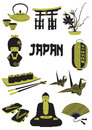 Japan a two tone silhouette of japanese objects Royalty Free Stock Images