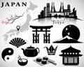 Japan vector set: symbols of Japan, map, Tokyo skyline, icons Royalty Free Stock Photo