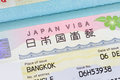 Japan visa in passport Royalty Free Stock Photo