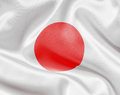 Japan white satin or silk flag Royalty Free Stock Photo