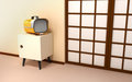 Japanese backdrop with retro tv Stock Photos