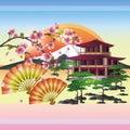 Japanese background with sakura - cherry tree