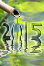 2015, japanese bamboo fountain Royalty Free Stock Photo