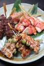 Japanese barbecue skewers assorted plate Royalty Free Stock Photo