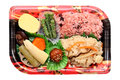 Japanese bento lunch isolated on white background Stock Photos