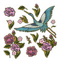 Japanese blue cranes with pink flowers elements. Design for embroidery Royalty Free Stock Photo