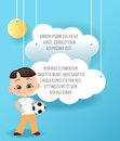 Japanese boy. Kid playing football. Vector Paper art of cloud flying in the sky. Template advertising brochure with space for text Royalty Free Stock Photo