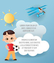 Japanese boy. Kid playing football. Vector Paper art of cloud and plane flying in the sky. Template advertising brochure with spac Royalty Free Stock Photo