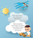Japanese boy with toy car. Boy playing car. Vector Paper art of car, cloud and plane in the sky. Template advertising brochure wit Royalty Free Stock Photo