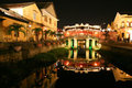 Japanese bridge at night in Hoi An, Vietnam Royalty Free Stock Photo