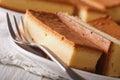 Japanese cake kasutera close-up on a plate. horizontal Royalty Free Stock Photo