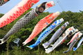 Japanese carp streamer are shaped wind socks traditionally flown in japan Royalty Free Stock Photos