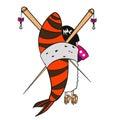 Japanese cartoon girl geisha in kimono sushi with shrimp and chopsticks vector illustration Stock Photography