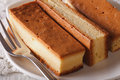Japanese Castella cake closeup on a plate. horizontal Royalty Free Stock Photo