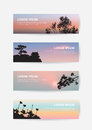 Japanese castle landscape sunset sky banner, pine tree and sakura silhouette bookmark.