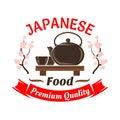 Japanese ceremonial tea set with sakura symbol