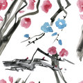Japanese cherry blossom, sakura tree seamless watercolor pattern.
