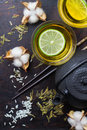Japanese chinese tea with lemon teapot chopsticks rice Royalty Free Stock Photo