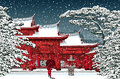 Japanese or chinese temple under snow Royalty Free Stock Photo